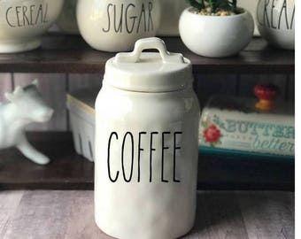 DECAL ONLY!Rae Dunn Inspired Coffee Vinyl Decal~Rae Dunn Decal~Kitchen Decor~Farmhouse Decor~Cookies~Rice~Pasta~Tools~Oatmeal~Canister Decal