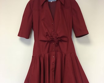 Vintage 80's  Thierry Mugler wine red dress size 42 (FR)