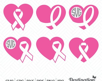 Heart Ribbons SVG Files Monogram, Breast Cancer Awareness Cutting Files, Silhouette Cricut Files, Vinyl Decal, dxf eps png jpg pdf, D/021