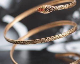 Art Deco Brass Snake Arm Band