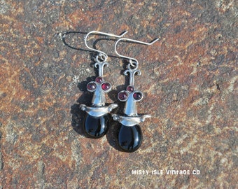 Onyx Earrings 003, earrings  handmade, small earrings, vintage earrings, silver earrings, boho, Italian jewelry, black stone