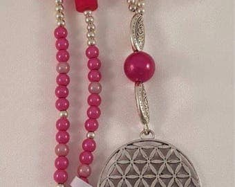 XL necklace made of acrylic beads, Polarisperle, agate and the flower of life with tassel