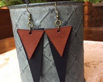 Leather Earrings/Leather Triangle Earrings/Black Leather/Brown Leather/Joann Gaines/Real Leather Earrings