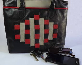 Large Real Leather Handbag Black with Red and Beige trim