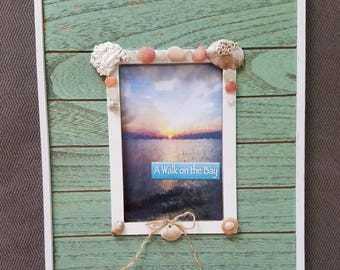 Green Wooden 4x6 Frame handcrafted with NJ seashells!