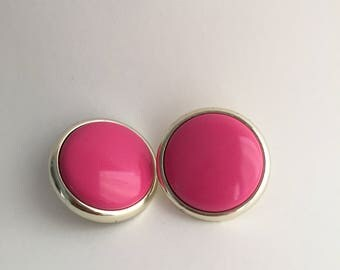 Hot Pink & Silver Plastic Round Retro Earrings