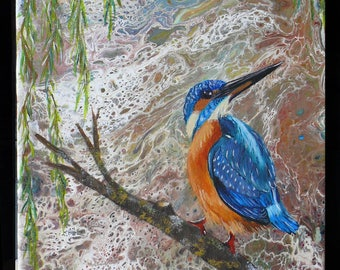Kingfisher Kingfisher amid abstract painting evoking water. Perfect gift for bird lovers, bird and nature