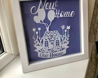 New Home paper art cut out