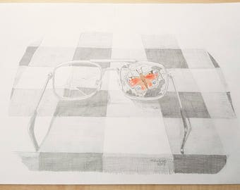"Original A4 pencil drawing of glasses with Butterfly ""Lunettes""."