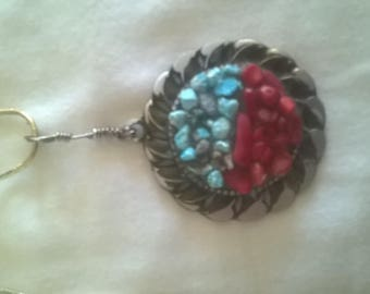 """Handmade 30mm pendant of Turquoise and Coral in Bronze setting w/18"""" Bronze Chain"""