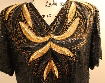 Women's Vintage Stenay Sequin Gold and Black Top
