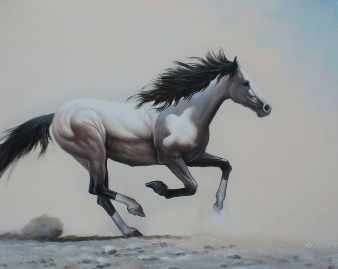 Horse Art Handmade Oil on Canvas Wall Art Beautiful Decor Running Horse