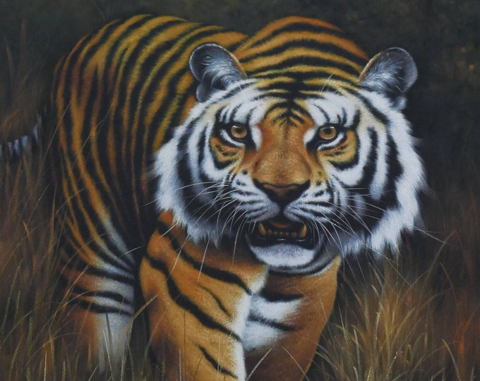 Tiger Painting Bengal Tiger Oil on Canvas Wall Art Beautiful Decor