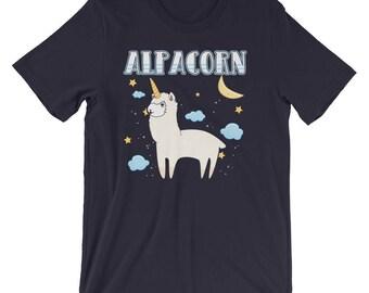 Alpaca Unicorn Shirt   Alpacorn Funny Animal Pun Shirts