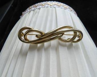 Vintage brooch 50s, ribbon brooch 50s, vintage ribbon brooch 50s/60s, brooch, golden brooch, golden ribbon brooch,