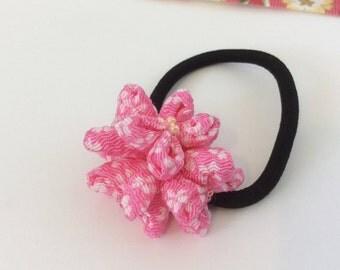 Pink ponytail holder  chirimen/Japanese crepe