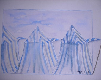 original watercolor painting marine: 3 striped awnings