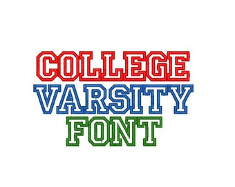 Embroidery College Font.  3 sizes, 10 Formats