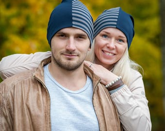 Navy blue/striped unisex beanie hats Set of 2 hats Matching couple beanie hats Adult scull hat Men slouchy beanie hat Women jersey beanie