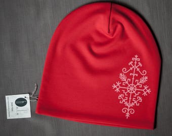 Women beanie hat Red slouchy jersey beanie Hat for ladies Adult scull cap Hat with cotton lining Slouchy beanie hat for her Womens beanie
