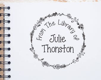 Personalized From The Library of Stamp Floral Wreath Design, Ex Libris Stamp, This Book Belongs to Stamp, Self Inking Stamp