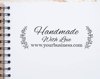 Personalized Handmade Business Stamp, Business Card Stamp, Custom Stamp Flower Wreath Business Stamp, Thank You For Business