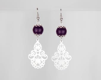 Long earrings silver plum #1251