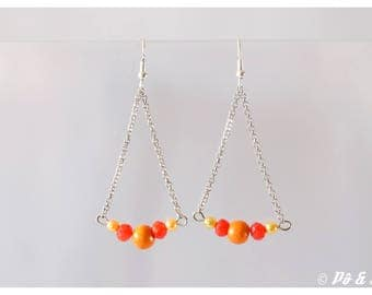 Earrings Orange yellow and silver #0920
