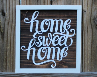 home sweet home sign-rustic wood sign-wood wall art-reclaimed wood-housewarming gift-farmhouse decor-christmas gift