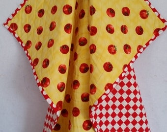 TOMATOES, Baby Quilt, handmade, toddler quilt, personalize, Red, bright, colorful lightweight, reversible, red white checks, tablecloth