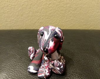 Handmade Polymer Clay Red/Black/White Dog
