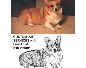 Pet Portrait, Animal Portrait, Custom Rubber Stamp and Artwork