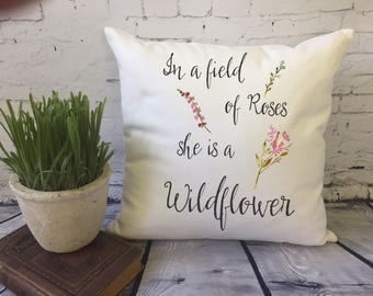 in a field of roses she is a wildflower children's throw pillow/nursery throw pillow/ personalized nursery/ / baby shower gift/baby girl