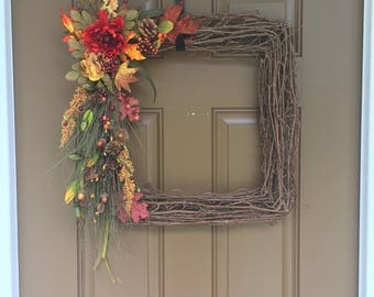Square Fall Autumn Wreath with Pinecones, Acorns and everything Fall Rustic, Beautiful, Large Wreath for your door or mantle!!