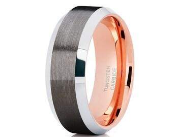 Rose Gold Tungsten Wedding and Grey Tungsten Ring Brush Tungsten Wedding Band Beveled Wedding Band Men & Women