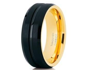 Black Tungsten Wedding Band Tungsten Carbide Ring Men & Women Yellow Gold Tungsten Wedding Band Anniversary Ring