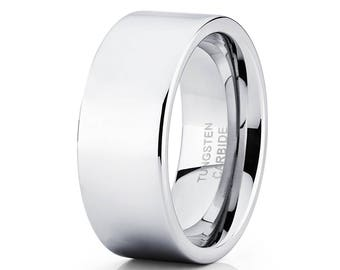 Tungsten Wedding Band Silver Tungsten Wedding Band Men & Women Shiny Tungsten Wedding Band Pipe  Design Ring