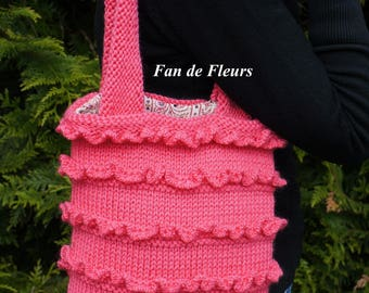 Pink hand knitted handbag with frous-frous, fully lined fabric