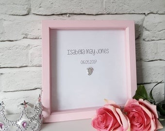 Personalised box frame with silver foil and sparkly footprint embellishment. Nursery room decor - perfect gifts and for for stylish homes