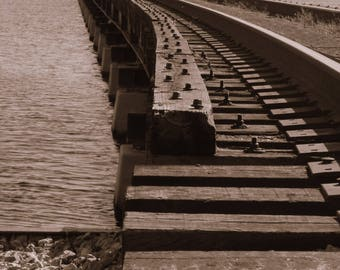 Sepia Photography, Fine Art Photography, Travel Photography, Railroad, Home Decor, Art Print, Wall Decor