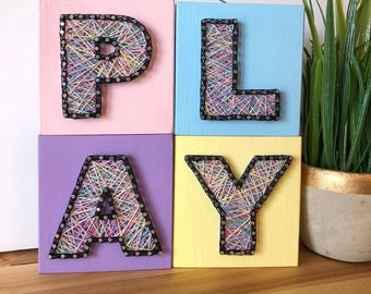 String Art Letters - Colored Letters - Decor Letter Blocks - Kids Room Decor - Nursery Decor - Playroom Decor - Letters