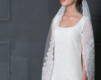 Lace bridal veil, Mantilla lace ivory veil, Veil in Spanish style, Ivory fingertip veil, Cathedral veil, Blush veil, White lace veil.