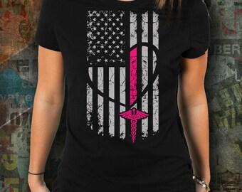 Breast Cancer Awareness American Flag - Womens shirt for her gifts shirt women funny tshirt slogan shirt tumblr tshirt women nurse medicine