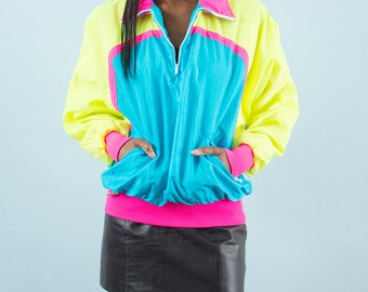 Neon, Windbreaker, 90s Clothing, Shiny, Spring Jacket, Jacket, Pink, Green, Blue, Block Color, Wind Jacket, Sports Jacket, 90s, Rave Clothes