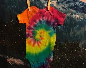 rainbow tie dye baby onesie, size 24 months