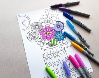 Adult colouring page Etsy