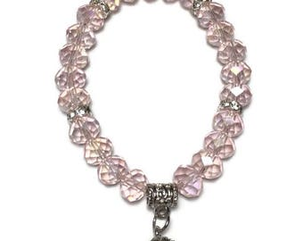 Pink glass beaded stretch bracelet with silver rhinestone ball charm, charm bracelet, beads, women's, pink bead bracelet, birthday, under 20