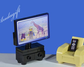 LEGO NEW large television and reclining chair custom set with remote control and a choice of 4 screens for the TV instructions furniture aag
