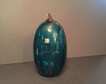 BEAUTIFUL Vintage Handblown Turquoise Pumpkin, Blenko Glass from West Virginia, Holiday, Thanksgiving, Fall