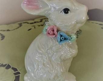 Easter Rabbit with Blue and Pink Necklace, White Rabbit with Necklace, Ceramic Easter Rabbit, Spring Bunny